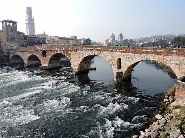 Verona bridge stone, architecture buildings.