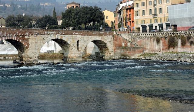 Verona stone bridge the river adige, architecture buildings.