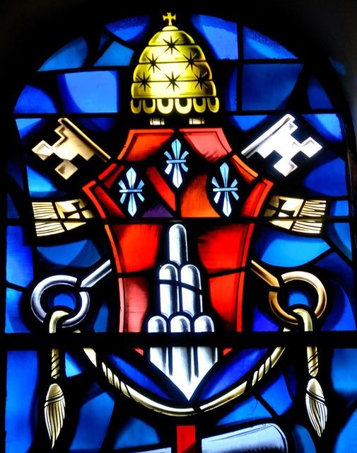 Vibrant color stain glass window, religion.