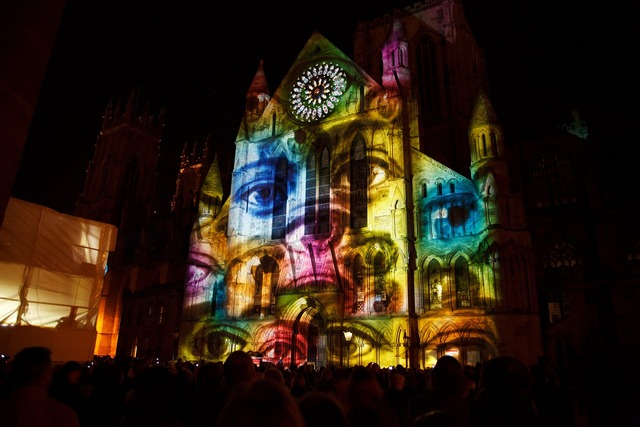Video mapping projection, architecture buildings.