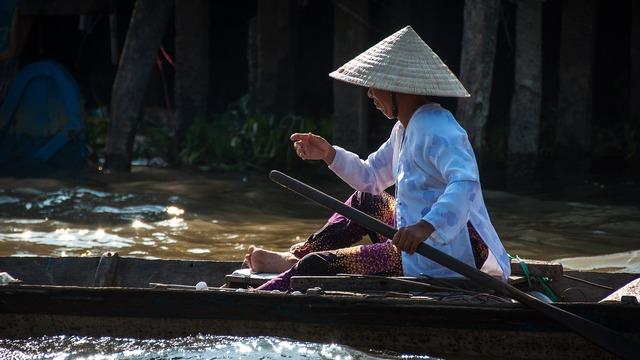 Vietnam woman river, beauty fashion.