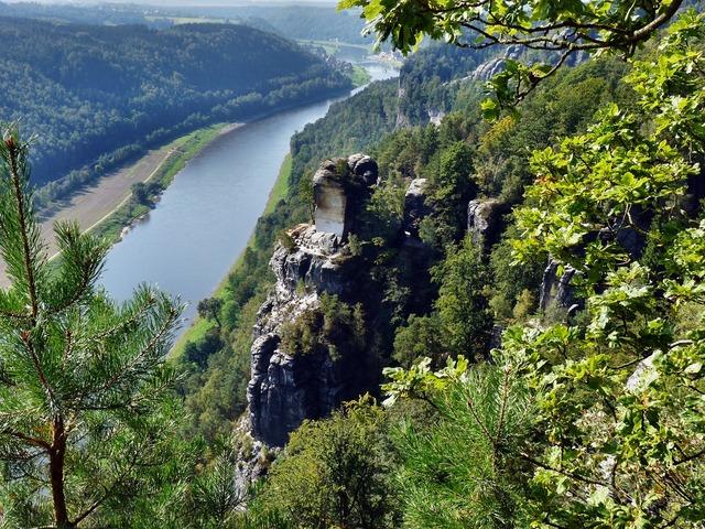 View of the bastei to the elbe saxon switzerland landscape, nature landscapes.
