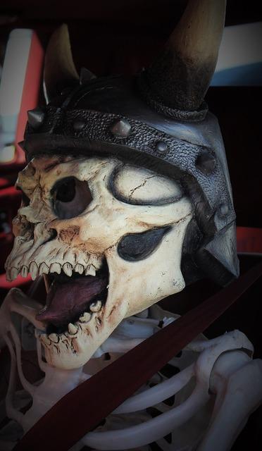 Viking viking helmet skull face, emotions.