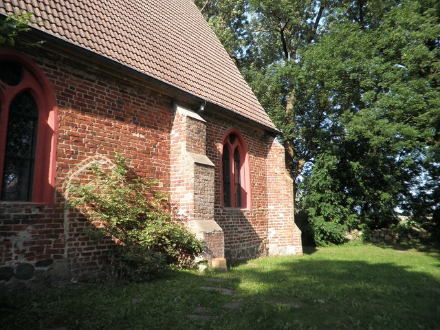 Village church brick netzelkow, architecture buildings.