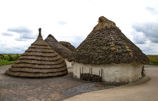 Village neolithic ancient, architecture buildings.