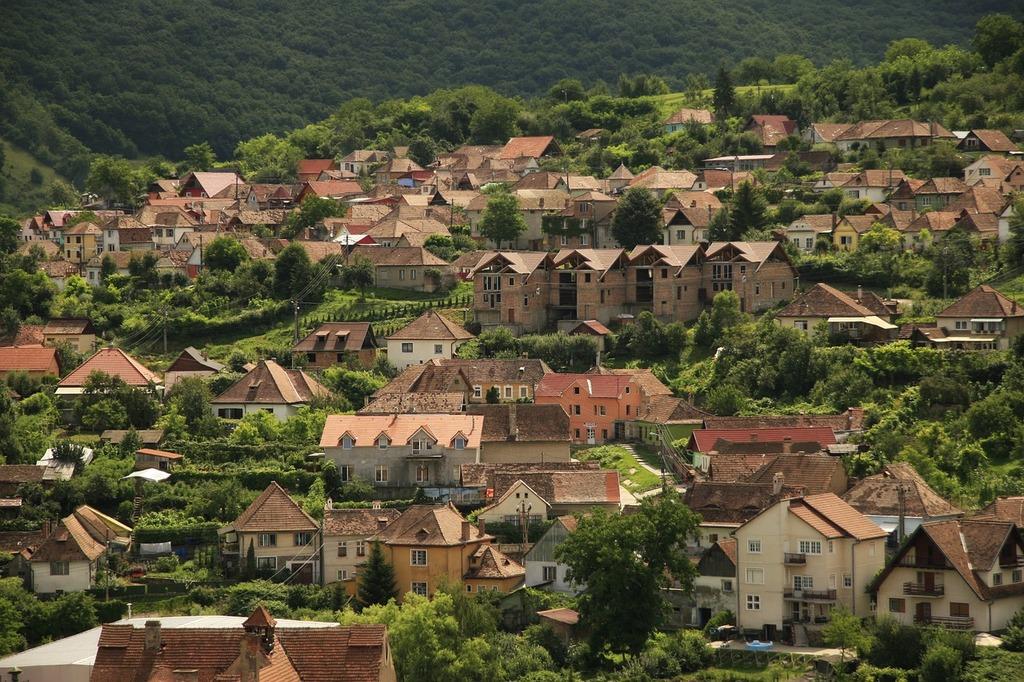 Village town houses, architecture buildings.