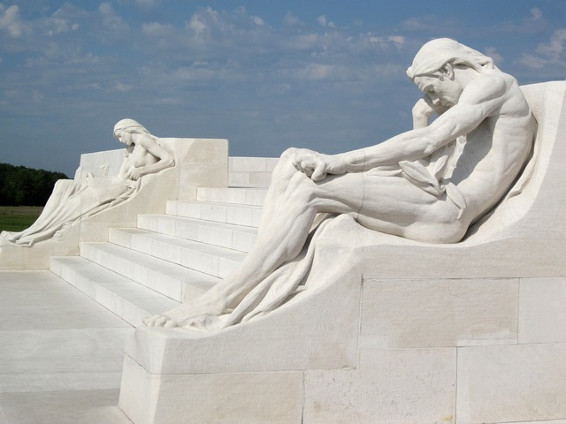 Vimy monument sculpture mourners.