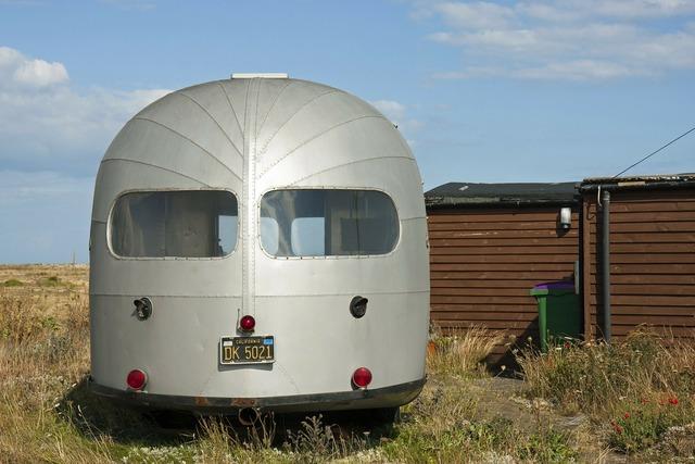 Vintage airstream caravan airstream trailer, architecture buildings.