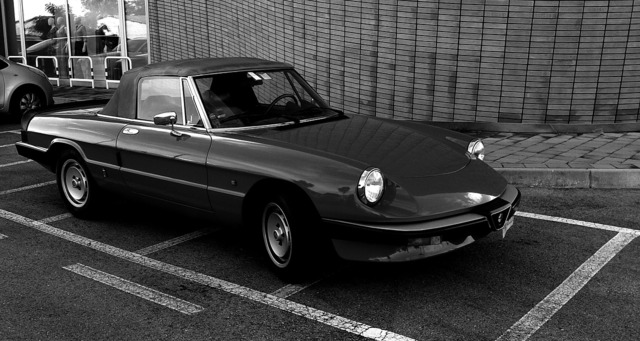 Vintage car alfa romeo cabrio, sports.