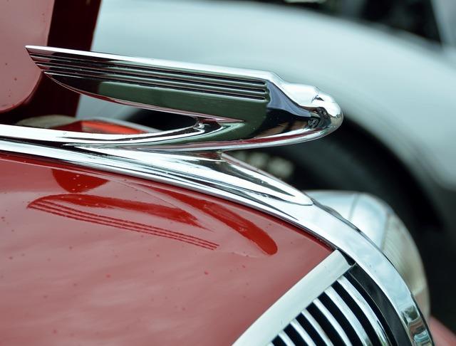 Vintage hood ornament car, transportation traffic.