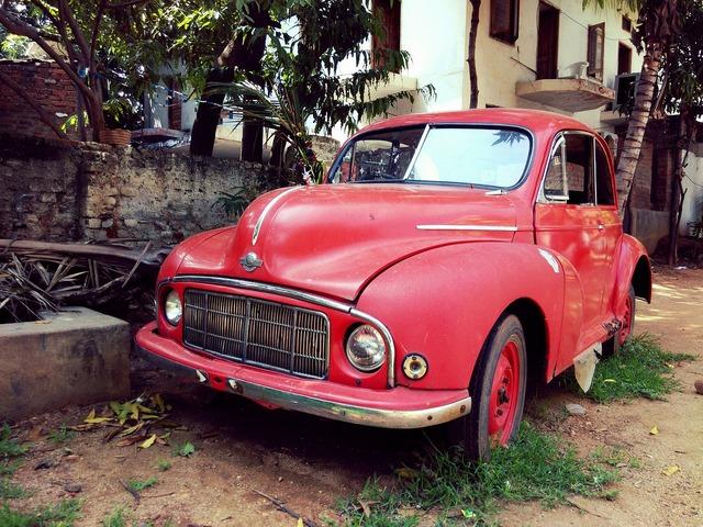 Vintage wrecked red, transportation traffic.