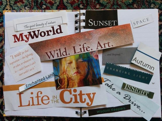 Vision board manifestation scrapbook.
