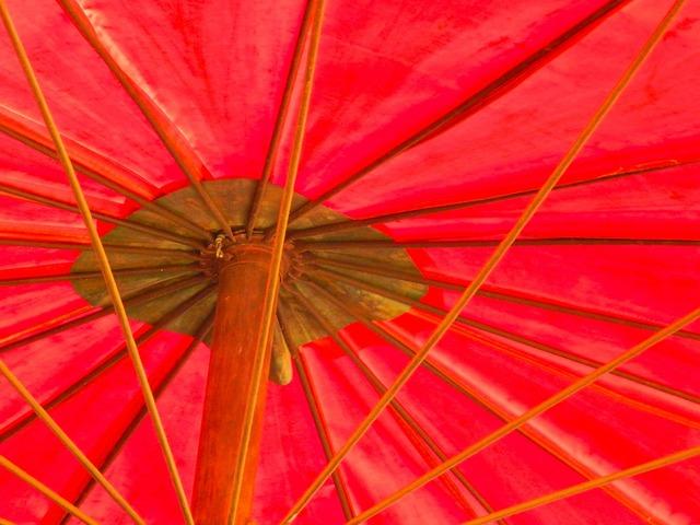 Vivid red umbrella.