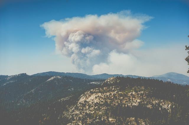 Volcano eruption cloud, nature landscapes.