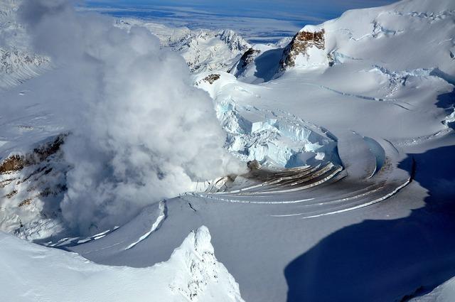 Volcano glacier fumarole.
