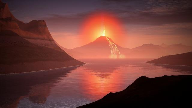 Volcano lava landscape, nature landscapes.