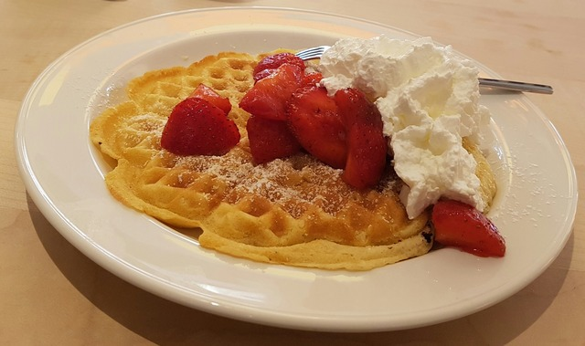 Waffle strawberries cream, food drink.