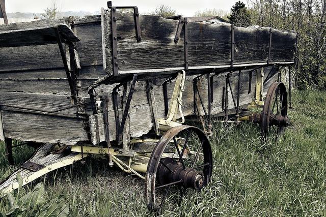 Wagon weathered wooden, transportation traffic.