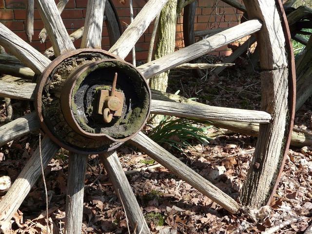 Wagon wheel old wooden wheel.