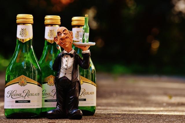Waiter wine serve, food drink.