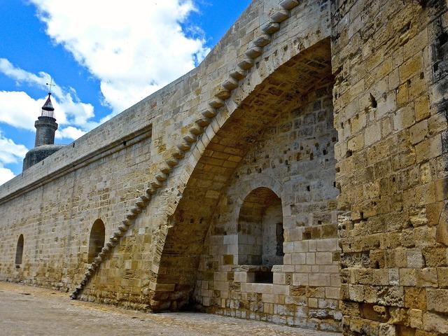 Wall embattlement castle, architecture buildings.