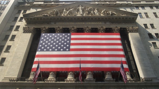 Wall street american flag business meeting, business finance.