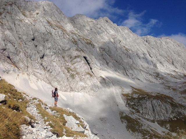 Wanderer mountain hiking, nature landscapes.