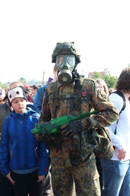 War cosplay dressed up, emotions.