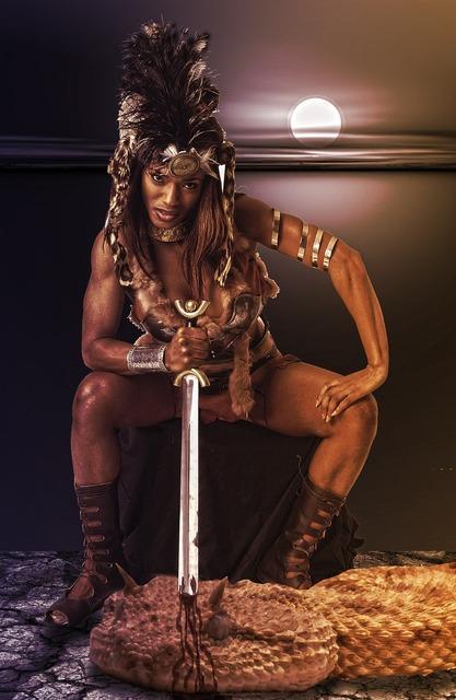 Warrior heroine amazone, beauty fashion.
