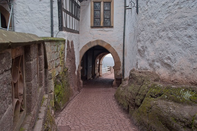 Wartburg castle courtyard eisenach, architecture buildings.