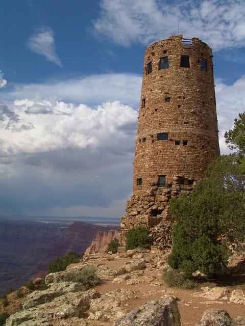 Watchtower desert view, nature landscapes.
