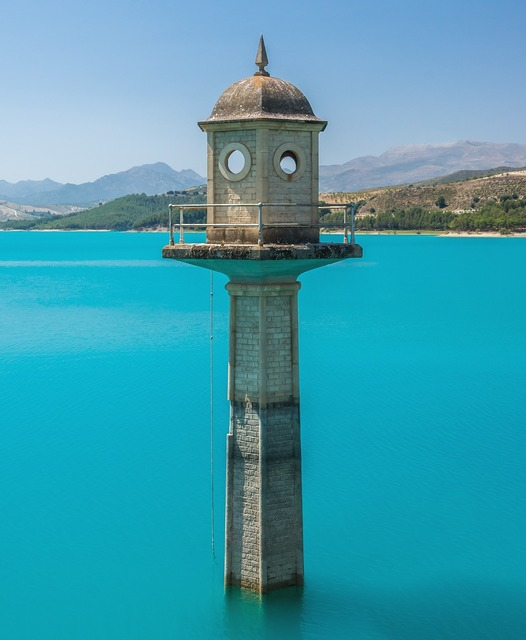 Watchtower lake turquoise water, nature landscapes.