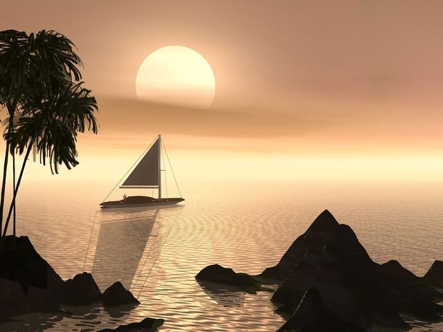 Water sailboat serene, travel vacation.