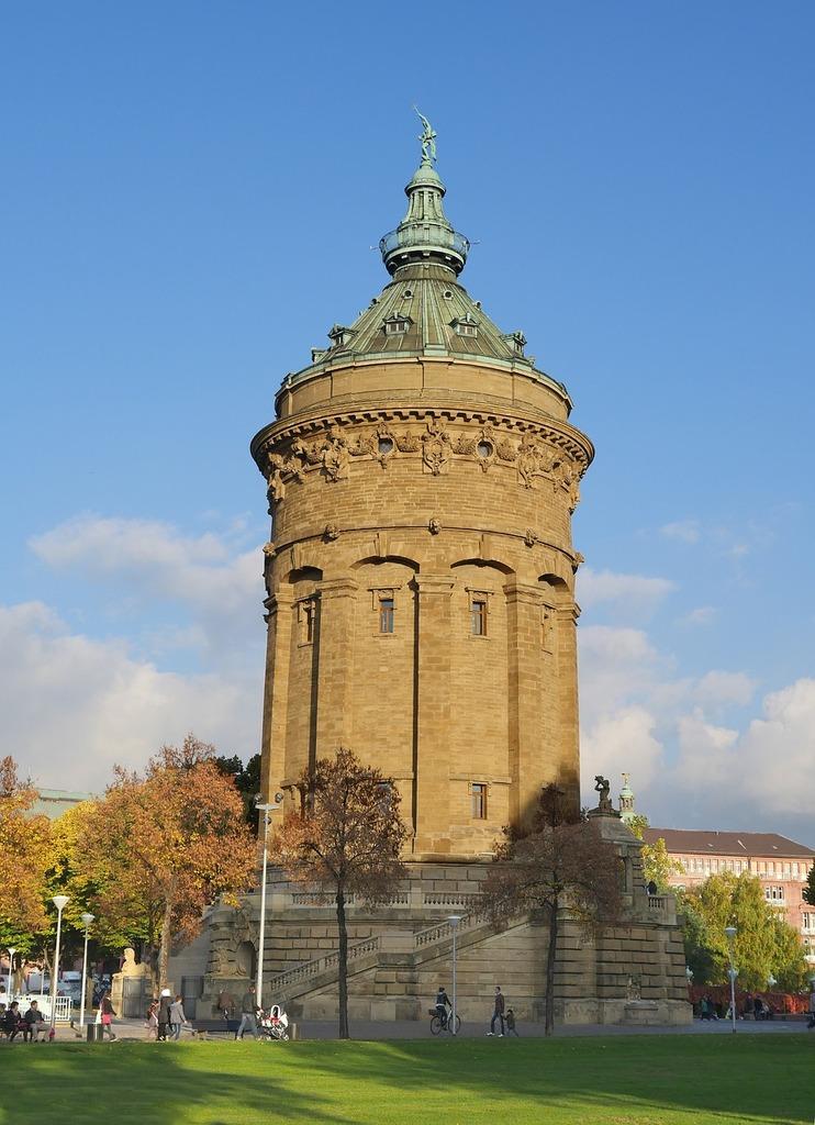 Water tower art nouveau mannheim, places monuments.