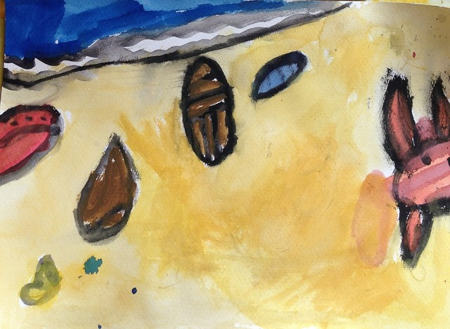 Watercolor beach shells, travel vacation.