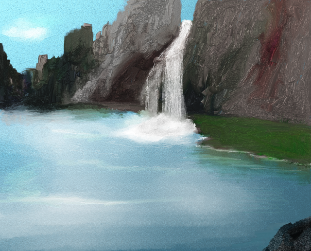 Waterfall lake painted, nature landscapes.