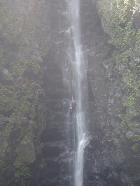 Waterfall rapel rope.