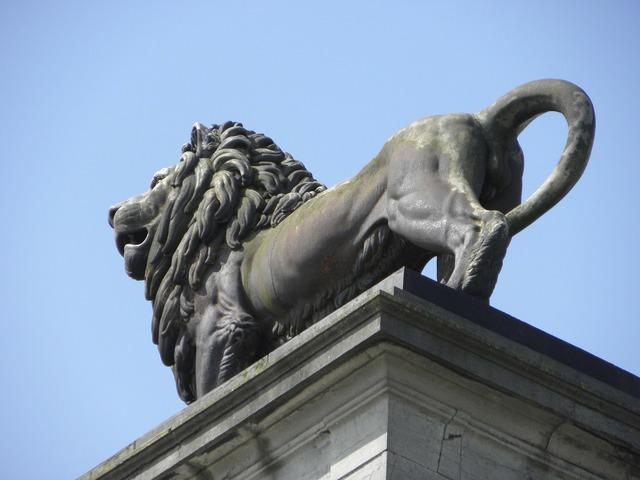 Waterloo napoleon lion monument, architecture buildings.