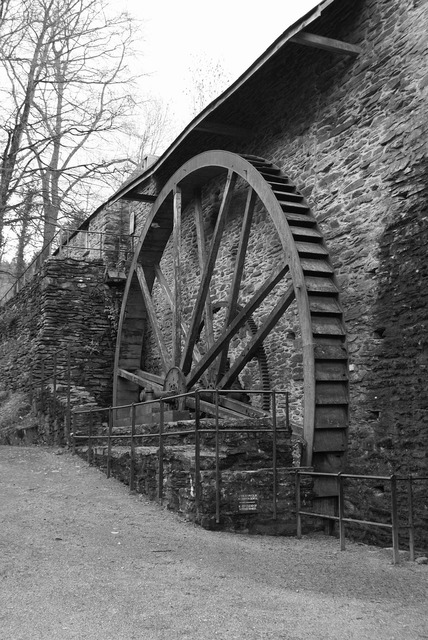 Waterwheel mill old, architecture buildings.
