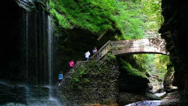 Watkins glen waterfalls bridge, travel vacation.