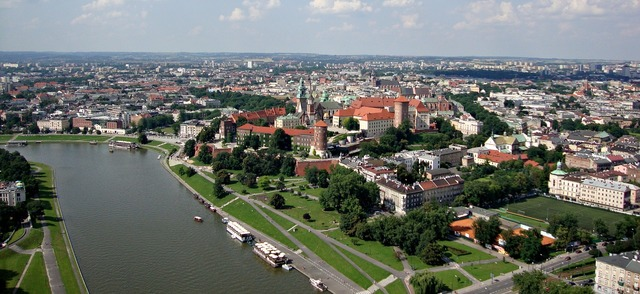 Wawel castle aerial, architecture buildings.