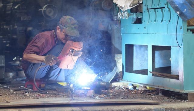 Welding firework worker, industry craft.
