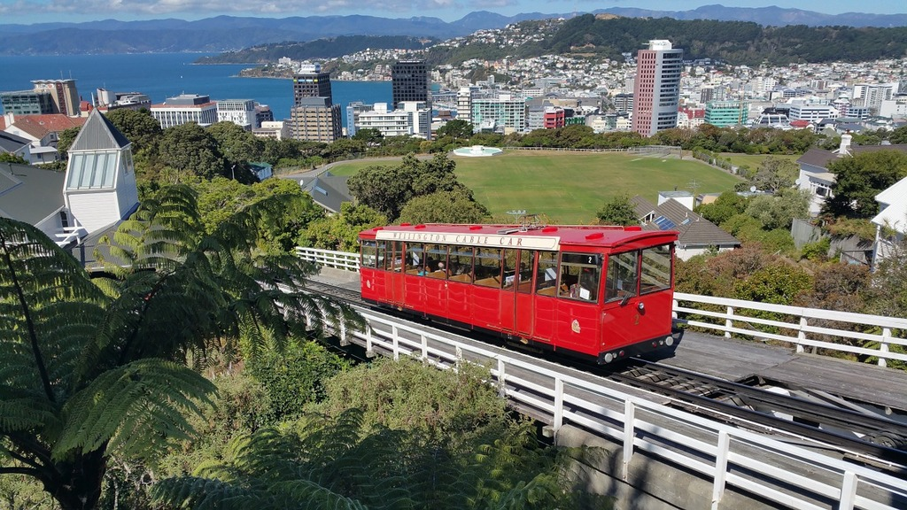 Wellington new zealand tram, architecture buildings.