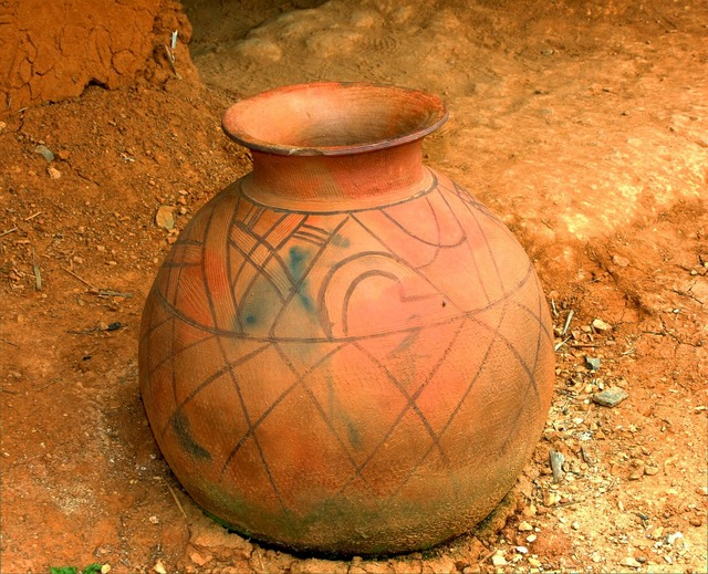 West african jar container primitive, industry craft.