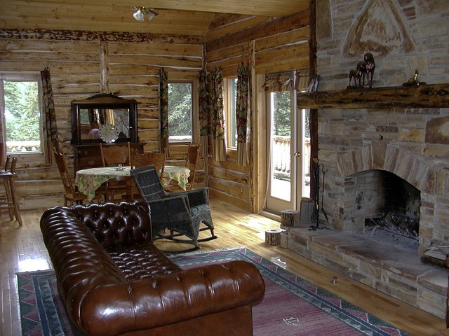 Western country style fireplace, architecture buildings.