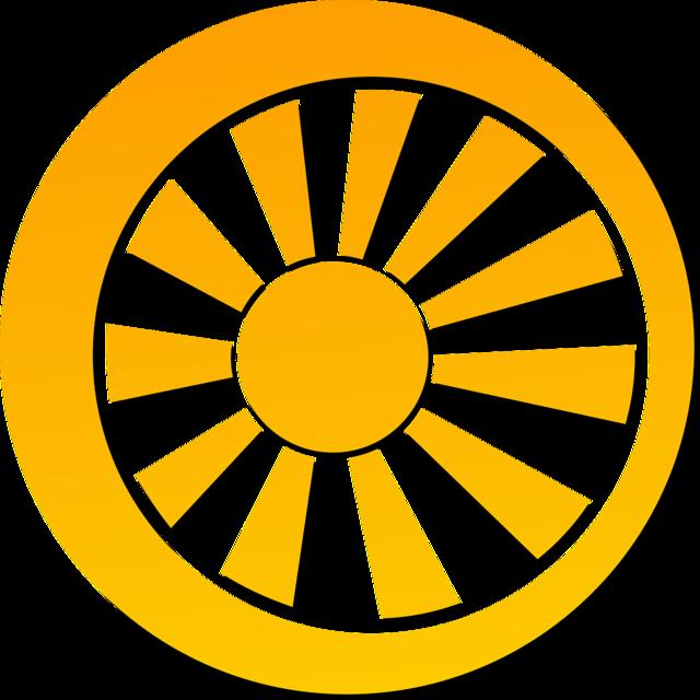 Wheel spoke sun.