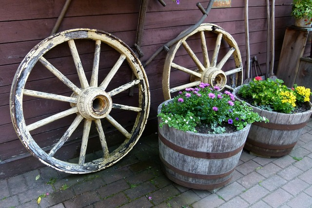 Wheels cart wooden, nature landscapes.