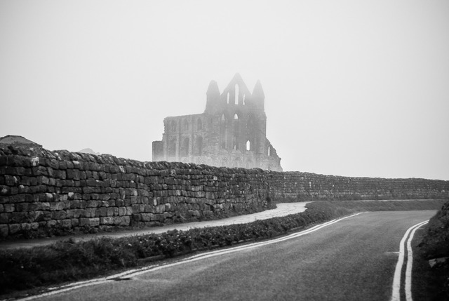 Whitby abbey ruins, transportation traffic.