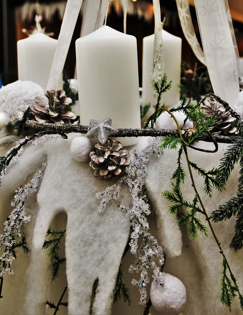 White christmas wreath white candles white.