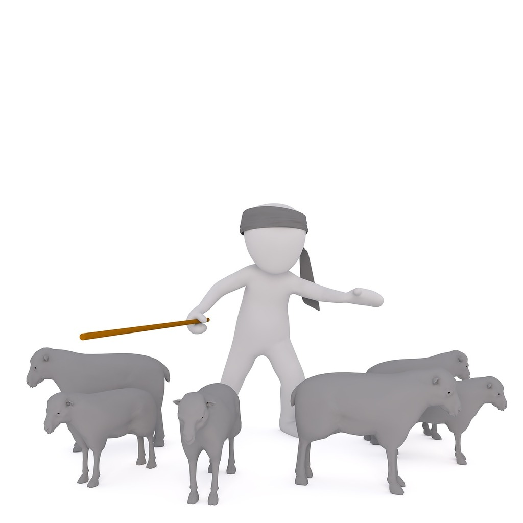 White male 3d model isolated, animals.